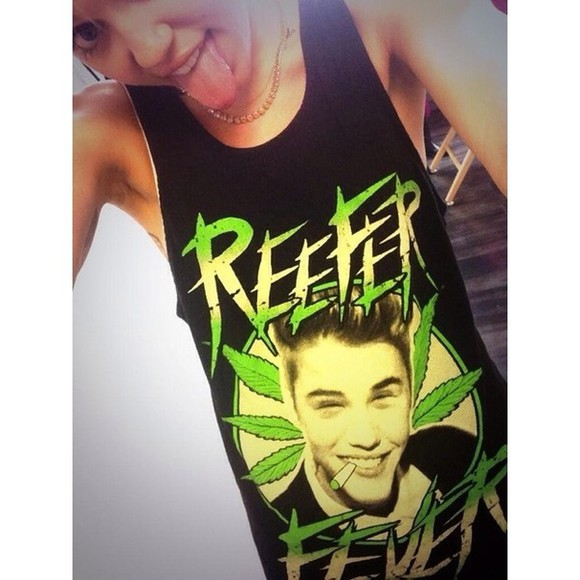 justin bieber shirt miley cyrus reefer fever weed