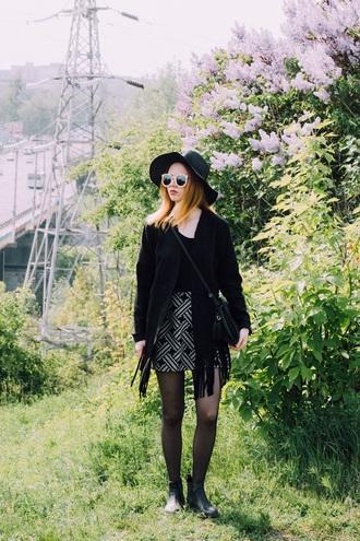 kristina magdalina blogger hat sunglasses jacket skirt bag shoes