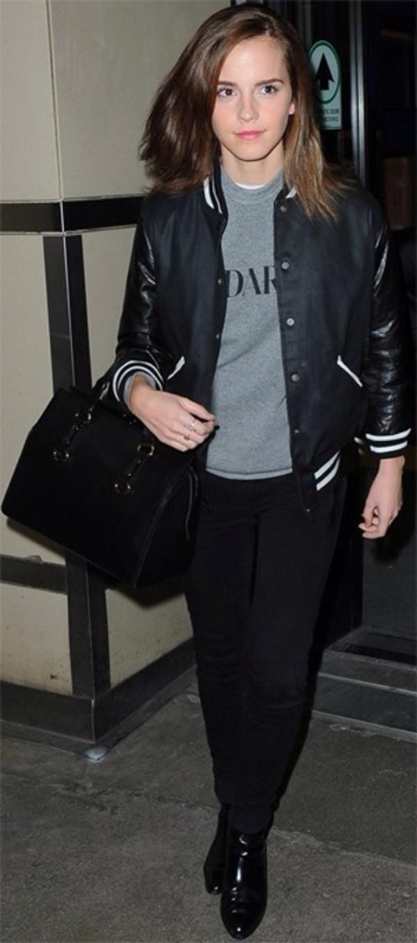 jacket jacket emma watson emma celebs bag sweater