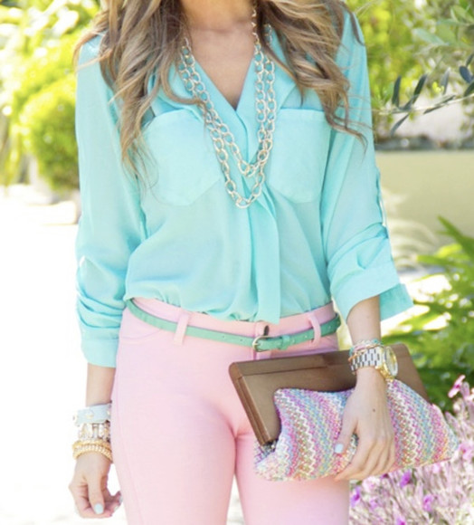 blouse blue blouse bright colored pastel chain pink pants green belt cute girly spring jeans