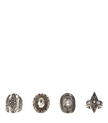 4 Pack Silver Gem Relic Rings