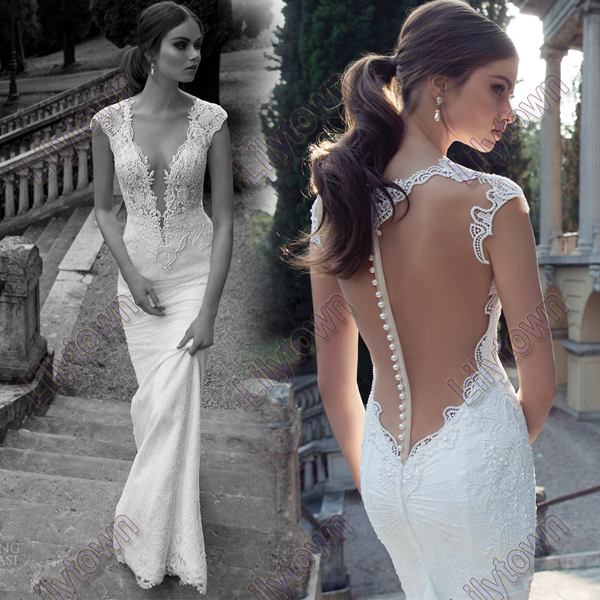 Wholesale New 2014 Deep V Neck Backless Open Back Lace See Through Design Wedding Dresses Bridal Wear Free Shipping -in Wedding Dresses from Apparel & Accessories on Aliexpress.com