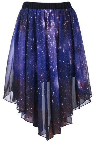 skirt blue galaxy long