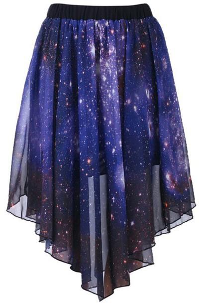 skirt blue galaxy print long
