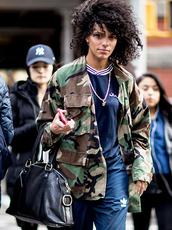 jacket,nyfw 2017,fashion week 2017,fashion week,streetstyle,camouflage,camo jacket,bag,black bag,sweatshirt,top,blue top,navy,sweatpants,joggers,joggers pants,athleisure