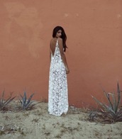 dress,white,lace,low back,backless,ivory,maxi dress,long dress,full length,hipster wedding,cover up