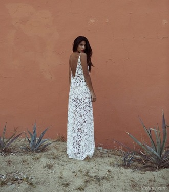 dress white lace low back backless ivory maxi dress long dress full length hipster wedding