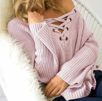 sweater girl girly girly wishlist pink muave pink muave pink sweater lace up front lace up knit knitted sweater fall outfits cute off the shoulder off the shoulder sweater