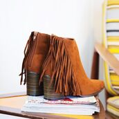 shoes,dark rust,pointed toe booties,fashion,style,trendy,fashionista,fringes,fringe shoes,brown,qupid