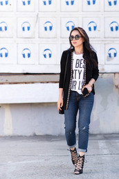the fancy pants report,blogger,cardigan,jeans,sunglasses,bag,quote on it,white t-shirt,cuffed jeans,strappy heels,black blazer,graphic tee