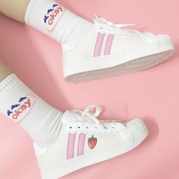 shoes strawberry aesthetic socks