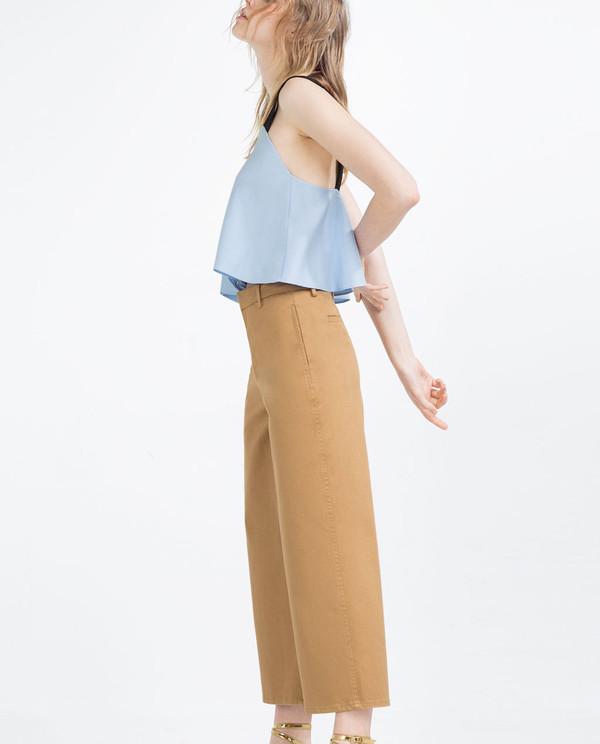 pants brown brown culottes culottes wide-leg pants cropped pants