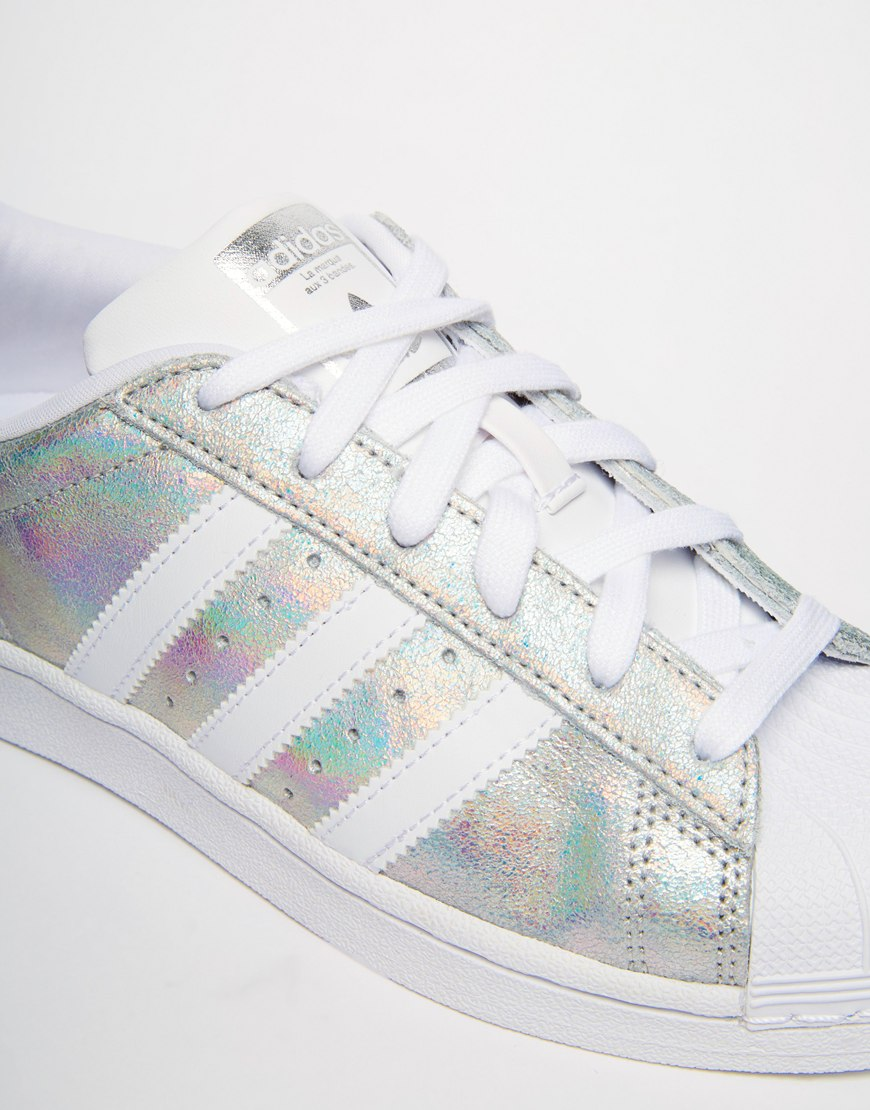 adidas originals superstar holographic white trainers at. Black Bedroom Furniture Sets. Home Design Ideas