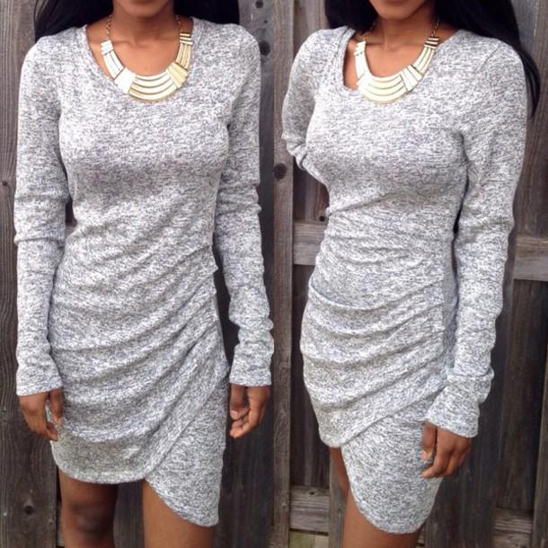 dress grey dress love dress clothes phone cover grey accessories long sleeve dress bodycon dress ootd high heels