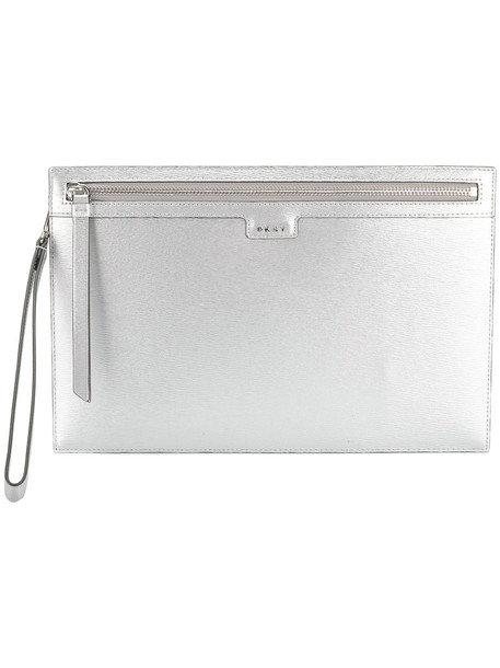 DKNY metallic women clutch leather grey bag