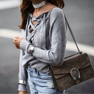 sweater tumblr grey sweater lace up jumper lace up bag grey bag gucci gucci bag dionysus bracelets choker necklace necklace jewels wrap choker wrap necklace bling jewelry