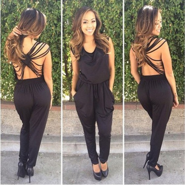 83fe09acecf jumpsuit outfit made black romper party clubwear open back open back  dresses top pants