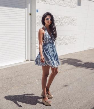 dress tumblr mini dress blue dress embroidered dress sandals wedges wedge sandals summer dress summer outfits shoes