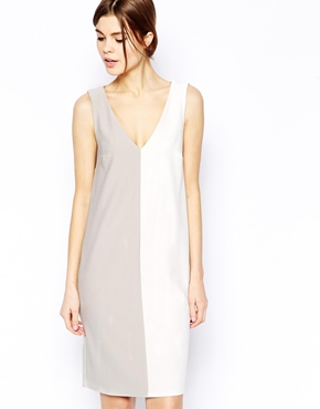 ASOS | ASOS Shift Dress in Texture Color Block at ASOS