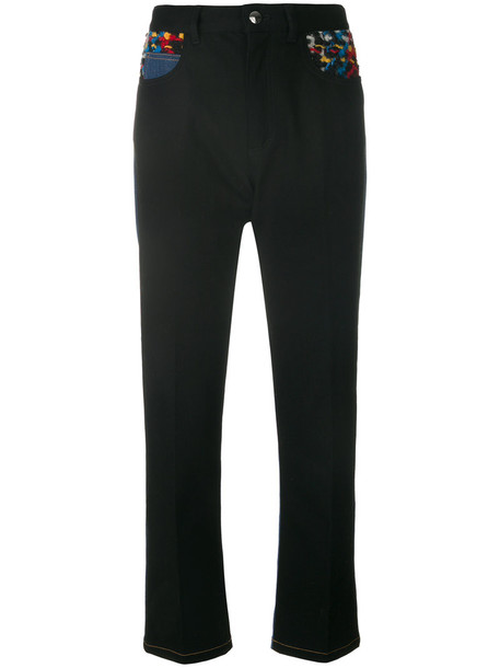 Sonia Rykiel - patchwork jeans - women - Cotton/Polyester/Spandex/Elastane - 36, Black, Cotton/Polyester/Spandex/Elastane