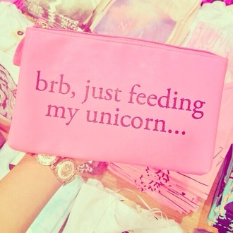 bag unicorn clutch pink letters girly