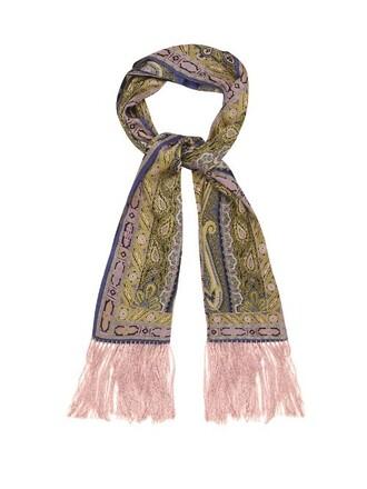 scarf silk scarf print silk paisley pink