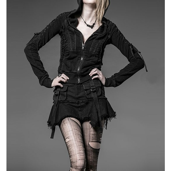 Punk Hoodie With Laced-Up Shoulder & Cutout Detail at Style Moi