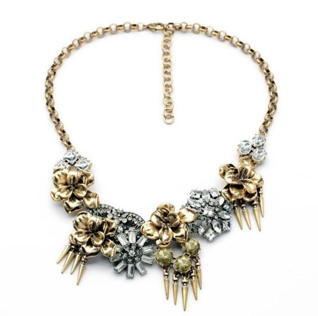 Wholesale vintage alloy flower rhinestone chunky tassel necklace