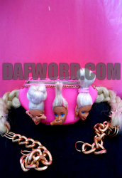 belt,barbie,fanny pack,pink,neon pink,head,see no evil,hear no evil,speak no evil,blonde hair,gold,chain