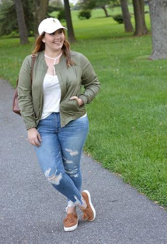 mommyinheels blogger jacket top jeans hat shoes