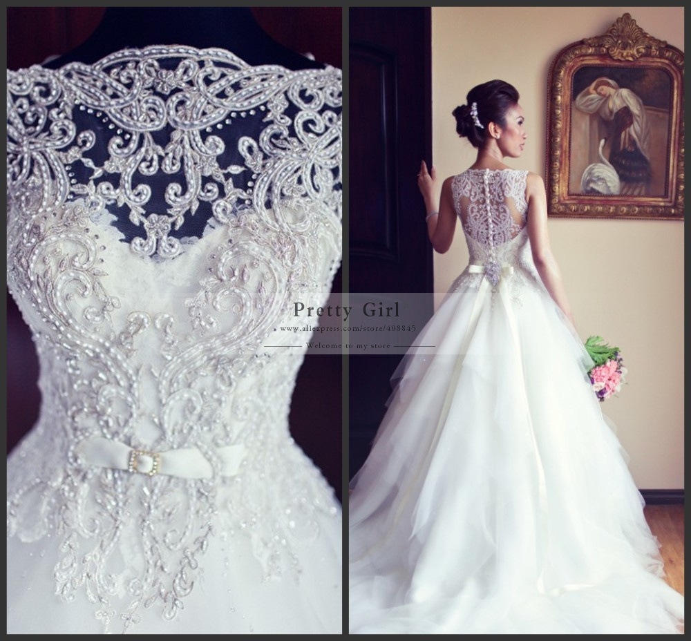 Buy vestido de noiva hot sale white ball for Pretty ball gown wedding dresses