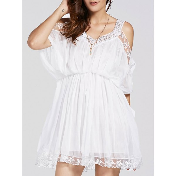 dress white summer fashion trendy spring off the shoulder cute girly rosewholesale.com