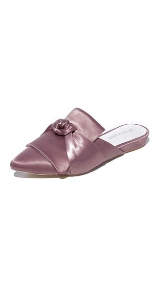 bow mules satin shoes