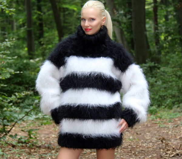 sweater hand knit made mohair turtleneck black white dress supertanya fluffy fluffy soft