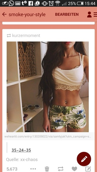 shorts white short boho pants boho patterns shorts pattern palm green beautiful leaves floral hippie