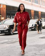 top,red,red top,leather,sandals,leather pants,wide-leg pants