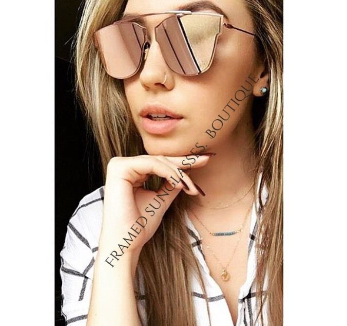 PINK Rose GOLD MIRRORED Reflective AVIATOR SUNGLASSES Celebstyle Marbs BEACH