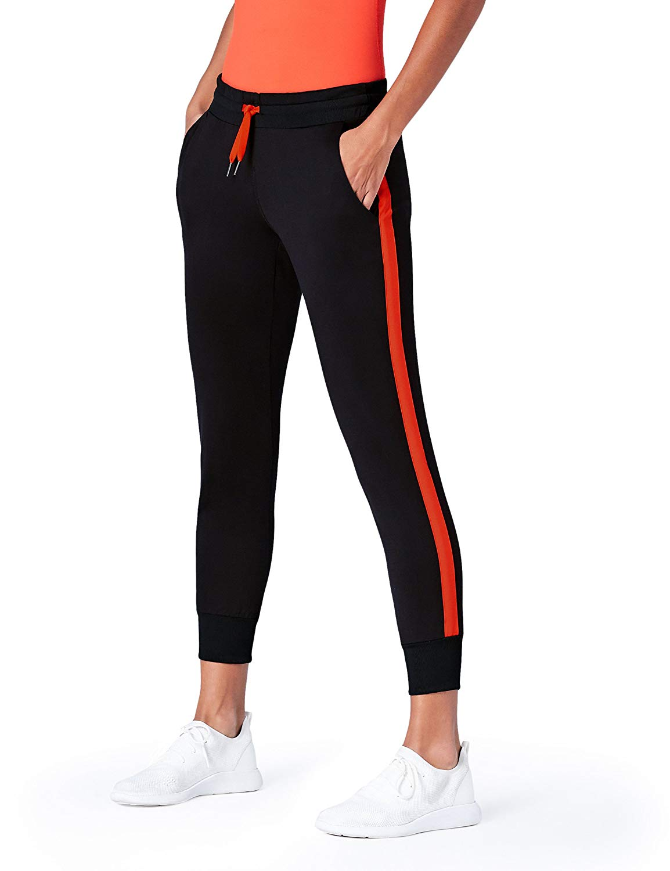 2484e0f8b7d62 AURIQUE Women's Side Stripe Cropped Joggers: Amazon.co.uk ...