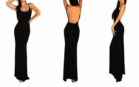 Vivian: sleeveless open back gown