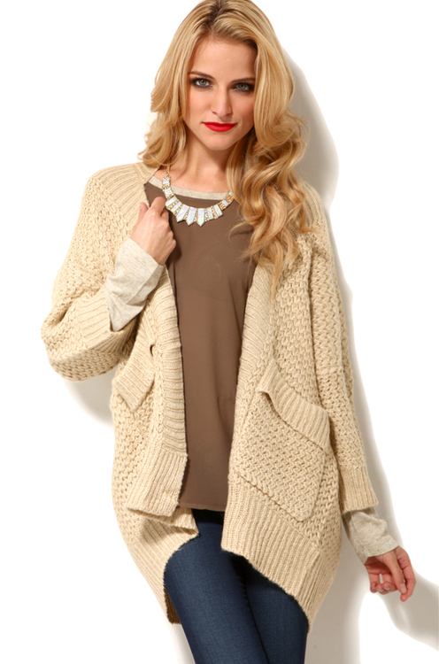 Six Crisp Days 1/2 Sleeve Pocketed Cardigan in Beige
