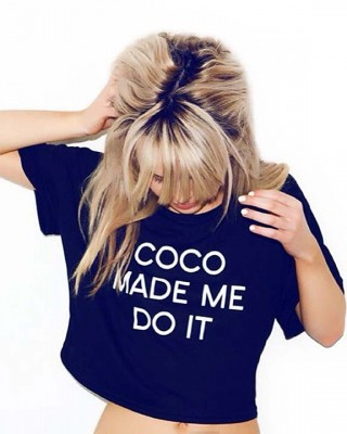 LOVE Black 'COCO Made Me Do It' Cropped T-Shirt - In Love With Fashion