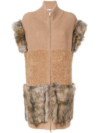 vest fur women silk wool knit brown jacket