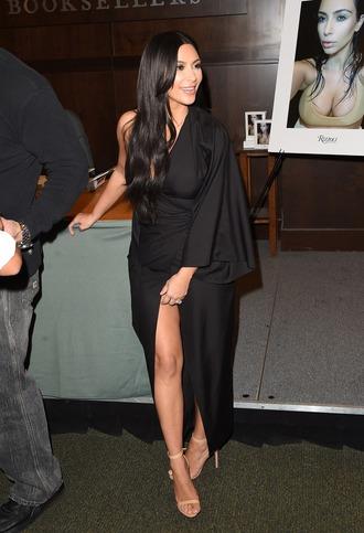 dress one shoulder asymmetrical slit dress black dress kim kardashian sandals wrap dress