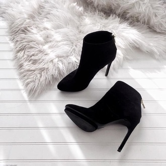 shoes black zip boot heels high heels