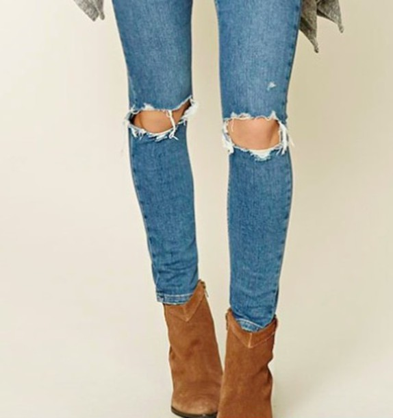 jeans blue jeans distressed skinny jeans