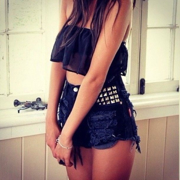 tank top shorts studded shorts High waisted shorts hipster shorts black crop top blouse black fashion crop tops short studs gold summer shirt jeans top tumblr cut off shorts crop tan bandeau top cute hipster black top model bandeau fabric crop tops black bando bando