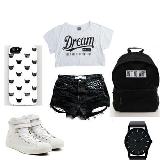 bag backpack black and white black white classy converse watch look beautiful shorts denim blackdenim shoes shirt