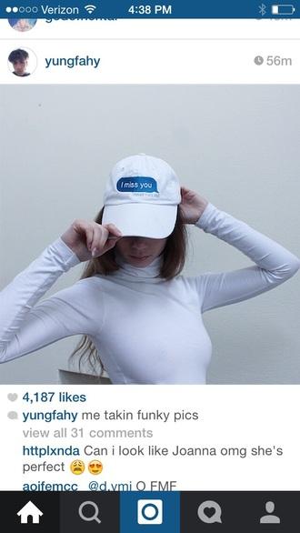 hat grunge tumblr joanna kuchta indie hipster baseball cap white hat charlie barker instagram plain white crop tops t-shirt cap top
