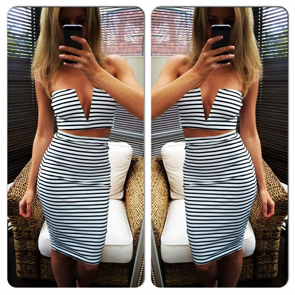 New ladies sexy crop top high waisted midi bodycon skirt two piece set dress