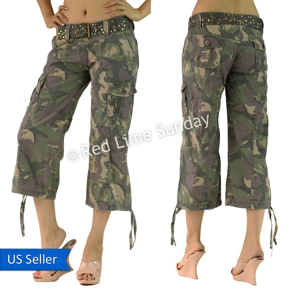 Camouflage Army Green Print Capri Cargo Wide Baggy Pants Bottom w ...